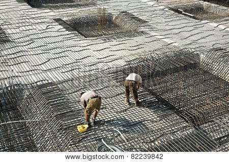 Armoring At The Building Site To Stabilize The Fundament Made Of Iron