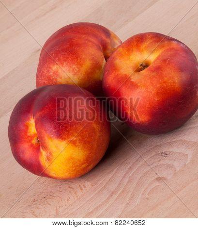 Three Tasty Fresh Ripe Juicy Nectarines