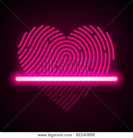 Heart shaped fingerprint scanner concept. Vector.
