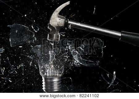 smashing a light bulb
