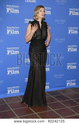 SANTA BARBARA - FEB 1:  Rosamund Pike at the Santa Barbara International Film Festival - Virtuosos Award at a Arlington Theater on February 1, 2015 in Santa Barbara, CA