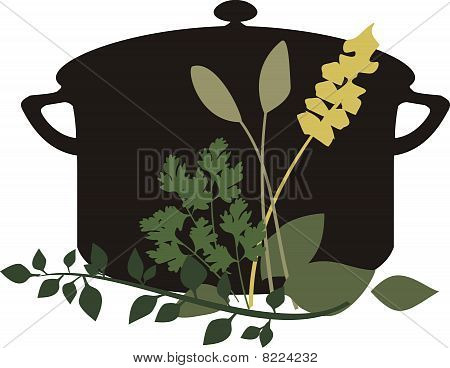 Cooking Pot Mixed Herbs Parsley Thyme Sage Basil