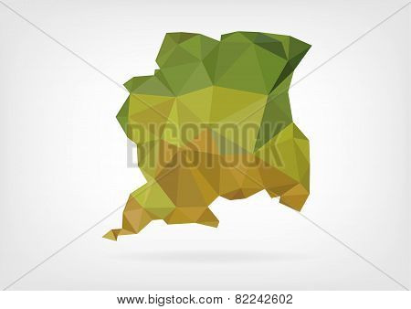 Low Poly map of Suriname