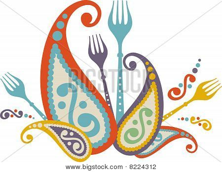 Decorative Paisley Dinner Party Celebration Forks