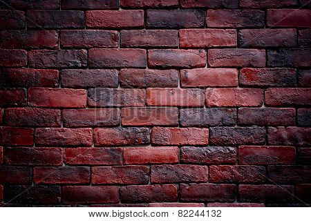 Weathered Texture Of Stained Old Dark Brown And Red Brick Wall Background, Grungy Rusty Blocks Of St