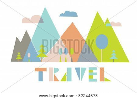 Travel logo or card with mountains