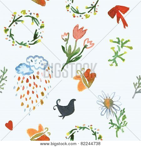 Floral watercolor seamless pattern for spring