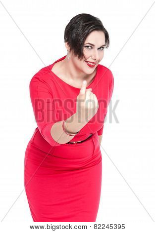 Beautiful Plus Size Woman With Beckoning Gesture Isolated