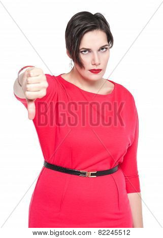 Beautiful Plus Size Woman With Thumbs Down Gesture Isolated On White Background