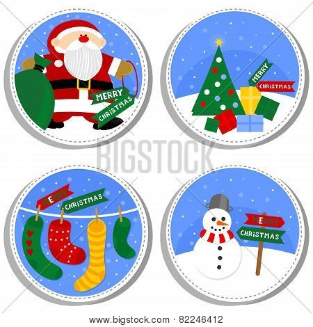 colorful Christmas winter holiday round shaped badge set