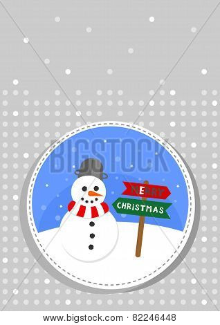 happy snowman in a badge Christmas winter holiday card