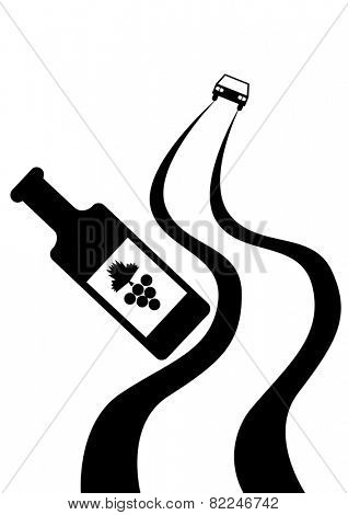Winebottle of wine and a car on a white background