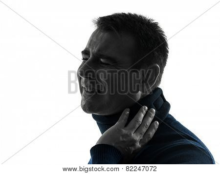one  man with cervical collar neckache portrait in silhouette studio isolated on white background