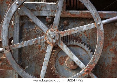 old mechanism with a gear closeup