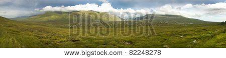 Panoramic Scottish Landscape With Moorland And Mountains In Highlands. Scotland