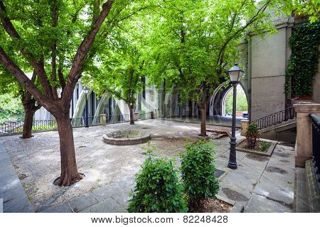 Small Park Near Segovia Viaduct On Spring In The City Of Madrid