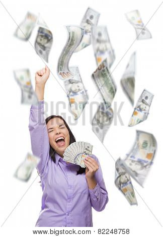 Celebrating Young Woman Holding $100 Bills with Many Others Falling Around Her on White.