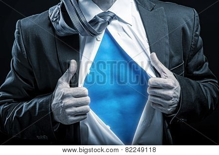 Superhero - apart unbuttoned shirt blue belly