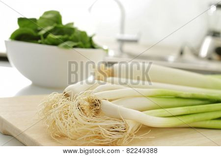 some raw vegetables, such as green garlics and leeks, on a wooden chopping board on the countertop of a kitchen