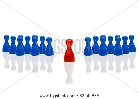 Business Concept Leadership Step Forward Red Group Blue