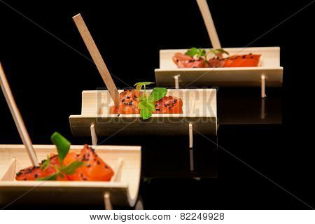 Raw Salmon Fillet With Spices On Bamboo