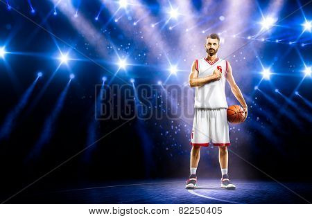 Proud basketball player is praying befor mach