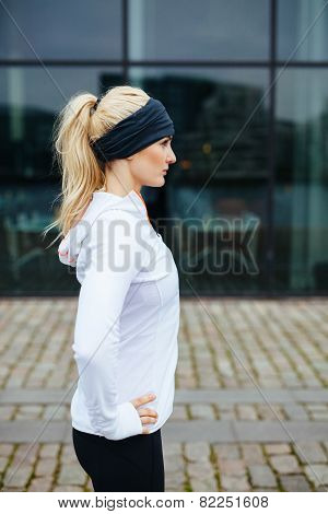 Female Athlete On Street Preparing For A City Run