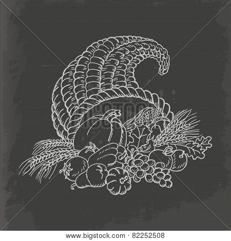 Thanksgiving cornucopia in sketch style. Card isolated on dark background