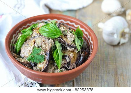 Satsivi - Eggplants In Peanut Sauce. Traditional Georgian Cuisine.