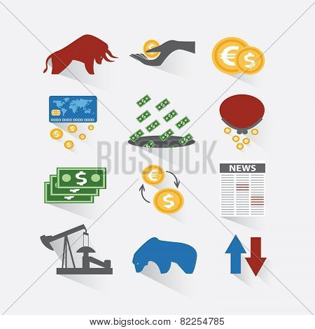 Set Business And Finance Stock Exchange Icons