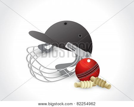 Abstract Cricket Elements With Helmet
