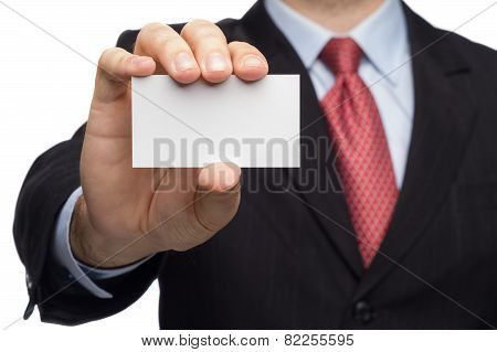 Hand In A Business Suit Showing Business Card