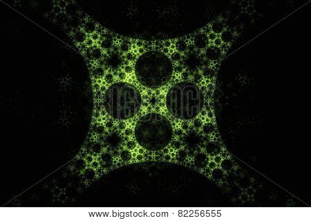 Abstract Geometric Green Fractal Texture. Visualization Of Complex Equations.