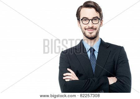 Confident Entrepreneur Posing Over White
