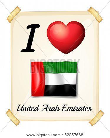 Illustration of i love united arab emirates sign