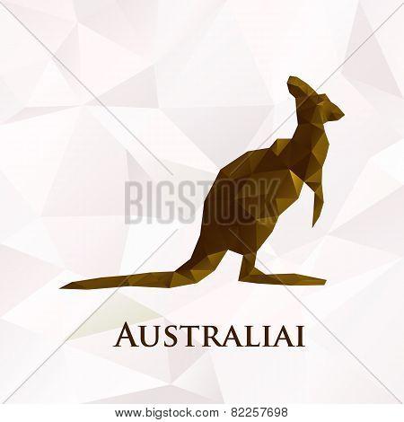 Vector polygonal australia kangaroo symbol.