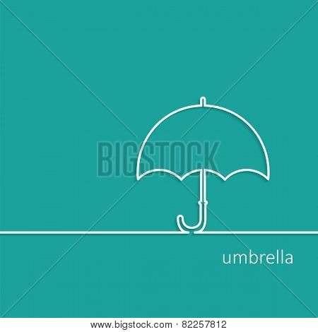Background With Umbrella Outline Contour Vector With Shadow And Space For Text