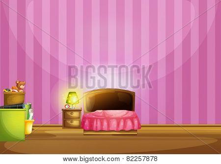 Illustration of a pink bedroom