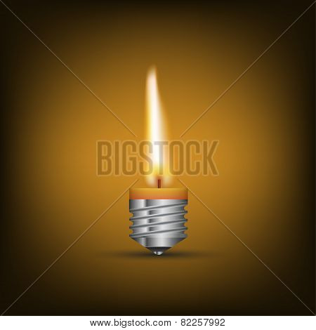 Creative Thinking With Brainstorming, wax candle into lighting bulb. vector