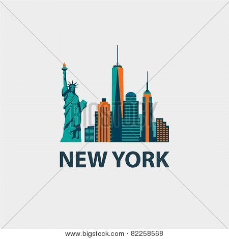 New York city architecture retro vector illustration, skyline silhouette, skyscraper
