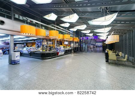 HELSINKI - SEP 21: Helsinki Airport interior on September 21, 2014 in Helsinki, Finland. Helsinki Airport is the main international airport of the Helsinki metropolitan region and the whole of Finland