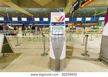 COLOGNE, GERMANY - SEP 18: airport interior on September 18, 2014. Cologne Bonn Airport is the international airport of Cologne and also serves the former German capital, Bonn