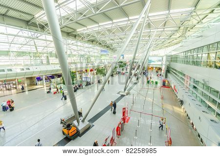 DUSSELDORF, GERMANY - SEPTEMBER 16: airport interior on September 16, 2014. Dusseldorf Airport is the international airport of Dusseldorf, the capital of the German state North Rhine-Westphalia