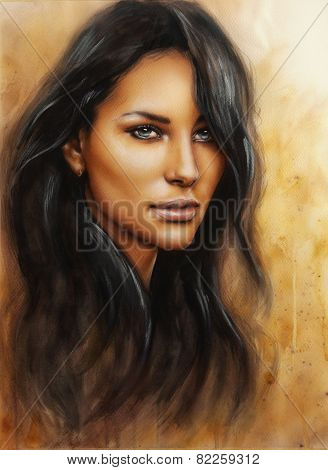 Young Enchanting Woman Face With Long Dark Hair