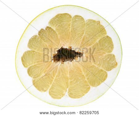 Top view on half of pomelo isolated on white with clipping path