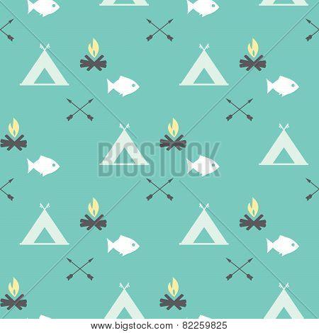 Cute Seamless Pattern Camping