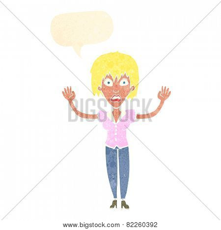 cartoon startled woman