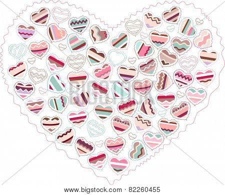 Stylized pink heart made of hearts  isolated on white