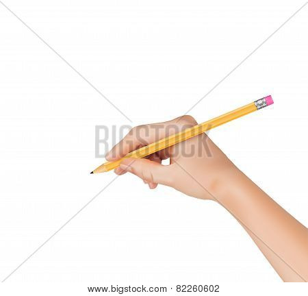 Hand with pen writing on paper. Vector illustration.