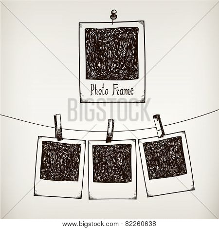 Vector hand drawn doodle illustration of retro photo frame.